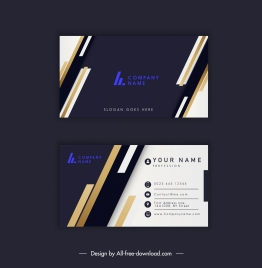 business card template modern technology stripes contrast decor