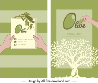 business card template olive tree sketch flat classic