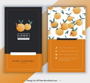 business card template orange fruits decor