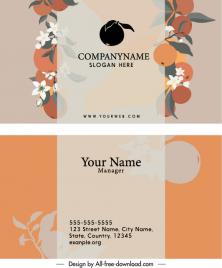 business card template orange fruits sketch elegant classic