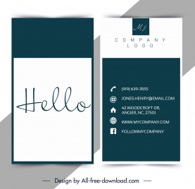 business card template plain sign handdrawn texts decor