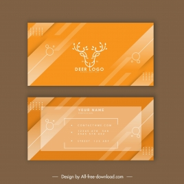 business card template reindeer logo sketch yellow stripes