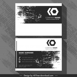 business card template retro black white grunge decor