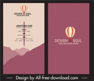 business card template retro dark plain balloon decor