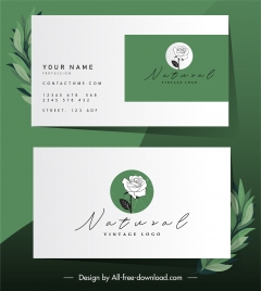 business card template rose sketch classic handdrawn