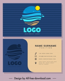 business card template sea wave logo flat sketch