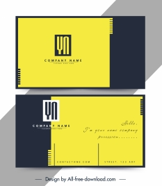 business card template simple plain yellow black decor