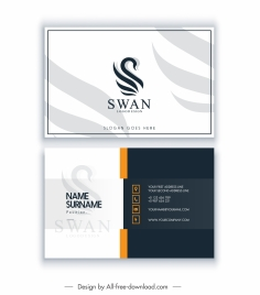 business card template swan logo decor contrast design