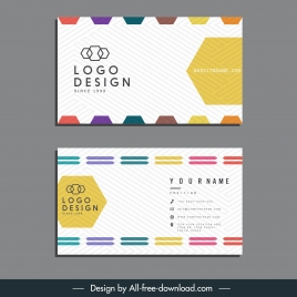 business card template technology geometric decor