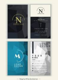 business card templates blurred geometric 3d cubic decor