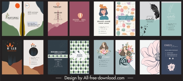business card templates collection colored classic handdrawn decor