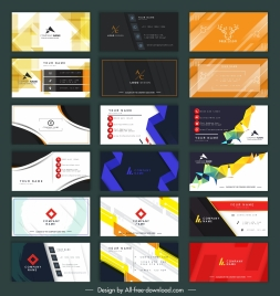 business card templates collection modern colorful elegant design