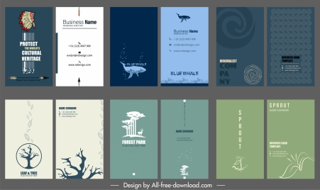 business card templates collection plain decor various themes
