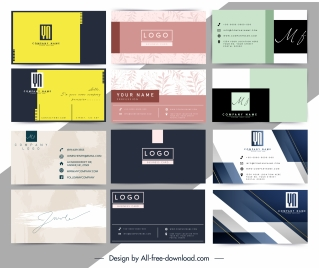 business card templates colored modern decor