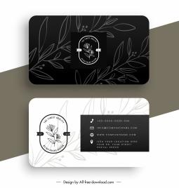 business card templates contrast design nature elements decor