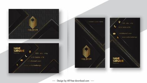 business card templates dark black design 3d logo