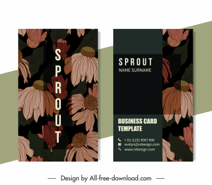 business card templates dark design retro dandelion decor