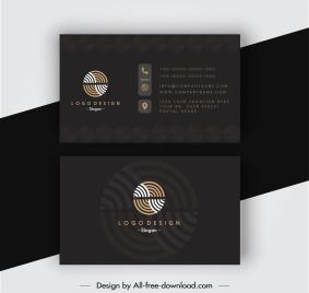 business card templates elegant dark black circles logotype