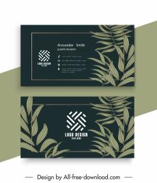 business card templates elegant dark leaves decor