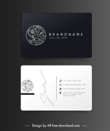 business card templates fish theme black white flat sketch