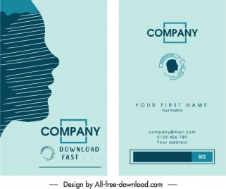 business card templates flat face sketch elegant decor