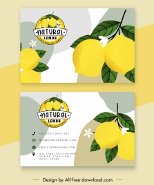 business card templates lemon theme bright colored decor