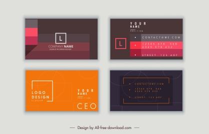 business card templates modern simple dark flat decor