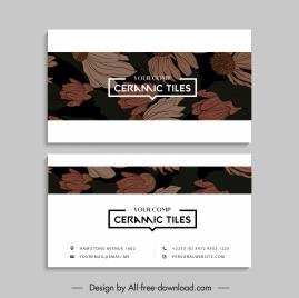 business card templates retro handdrawn botanical decor