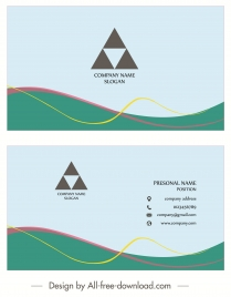 business card templates simple colored triangle curves decor