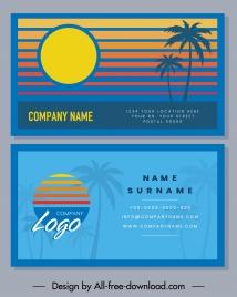 business card templates sunset scene theme coconut decor