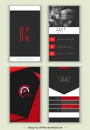 business cards templates elegant dark black red decor