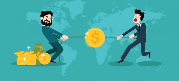 business competition concept men draging coins icons