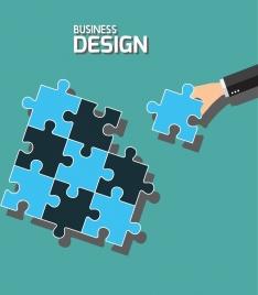 business concept background puzzle joints icons flat design