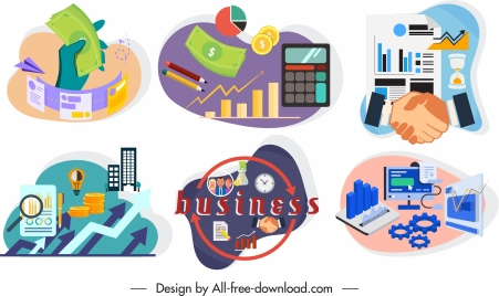 business concept icons colorful symbols sketch