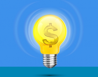 business concept shiny lightbulb currency icons decor