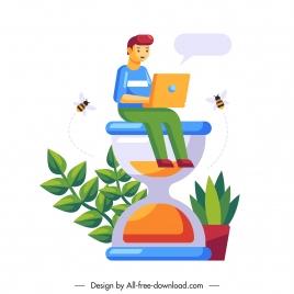 business conceptual background staff sandglass colorful flat design