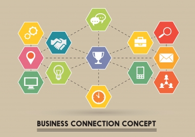 business connection concept vector illustration with flat icons