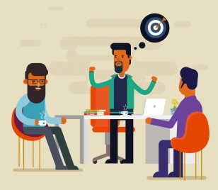 business conversation drawing men icons colored cartoon design