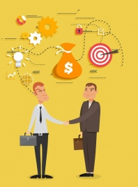 business cooperation concept background men shaking hand icons