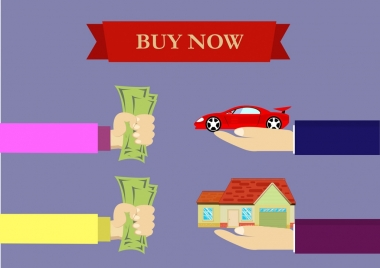 business deal concept hand money car house icons