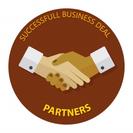 business deal concept with partners hanshake illustration
