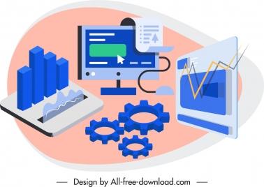 business design elements 3d symbols sketch