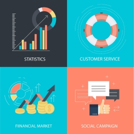 business development design elements with color flat illustration