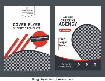 business flyer cover templates elegant checkered decor