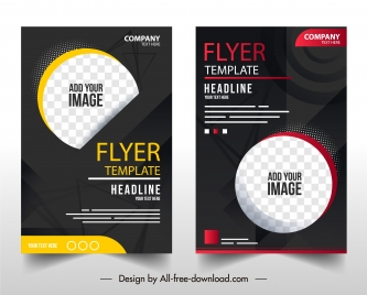 business flyer template elegant dark checkered circle decor
