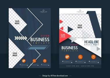 business flyer template modern elegant contrast checkered decor