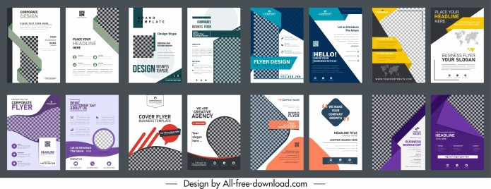 business flyer templates collection elegant modern checkered decor