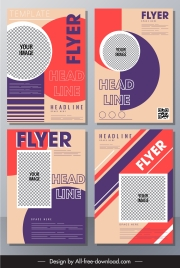 business flyer templates colorful geometric shapes checkered decor