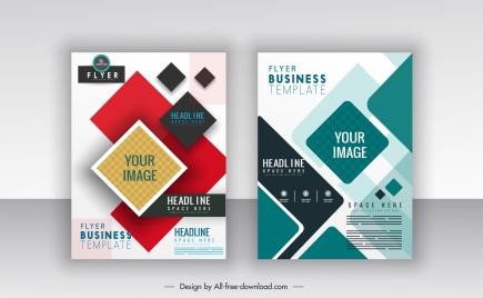business flyer templates colorful modern flat geometric decor
