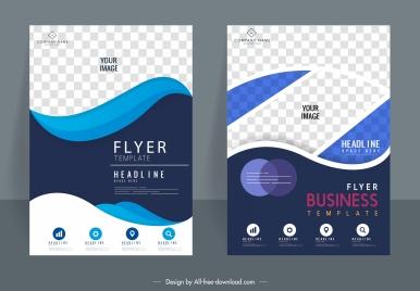 business flyer templates modern checkered swirled decor